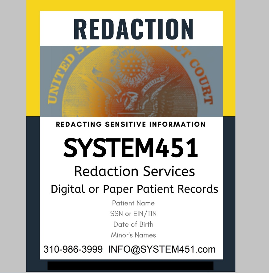 certificate of secure redaction for all medical legal documents